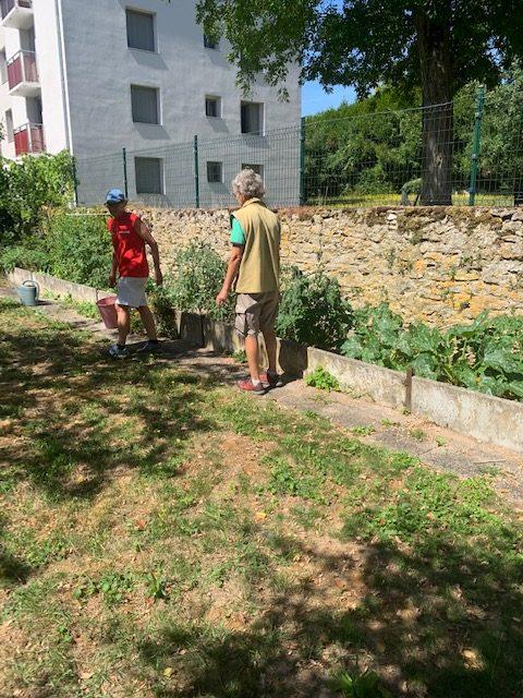 Catherine et Sophie en pleine action dans le jardin